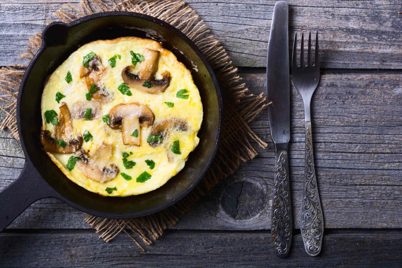 Open-Faced Mushroom Omelet Recipe