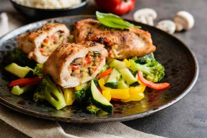 Roasted Pepper and Caper Stuffed Chicken Breasts