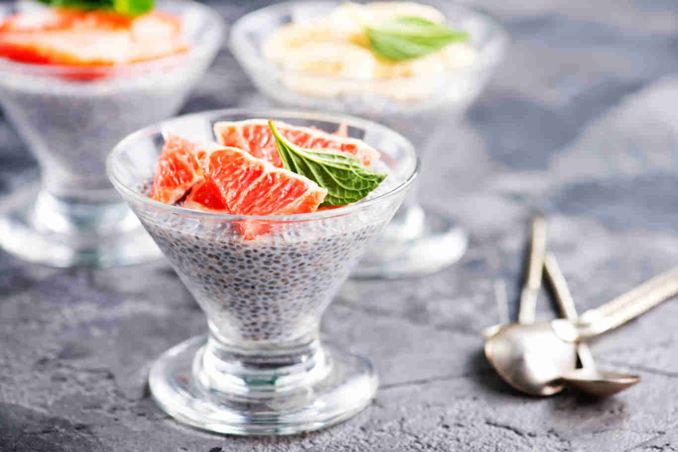 chia pudding with fruit in the glass
