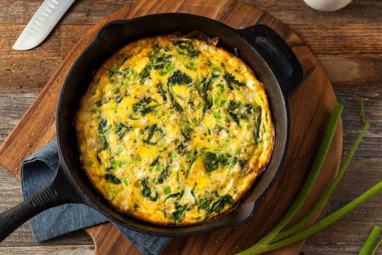 Homemade Spinach and Feta Fritatta in a Skillet