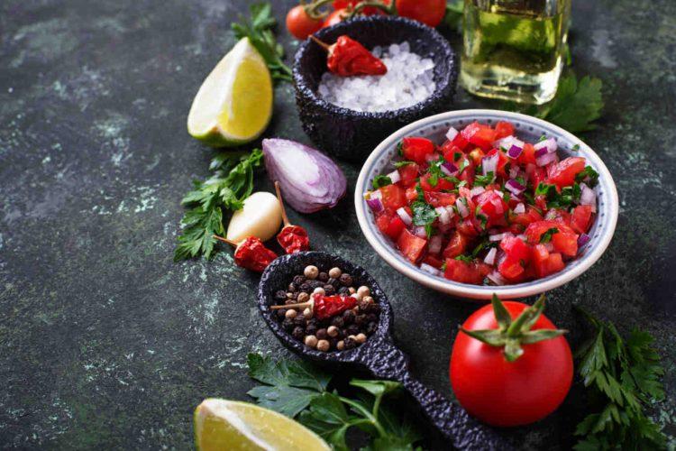 Traditional mexican tomato salsa sauce. Selective focus