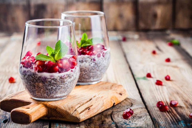 chia pudding with pomegranate seeds