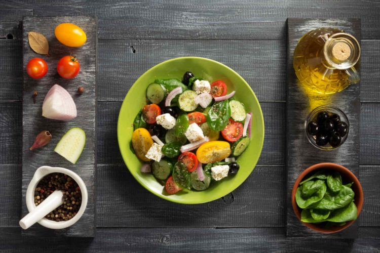 fresh greek salad in plate