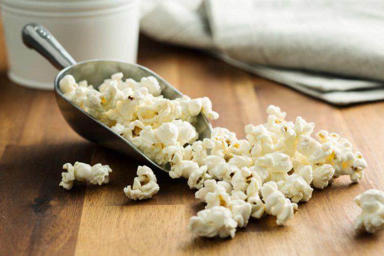 popcorn in metal scoop